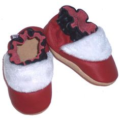 santas helper  Red Genuine Leather Holiday Soft Sole by myminimocs, $28.00