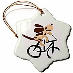 Basset Hound Puppy Dog Riding Bicycle - Snowflake Christmas Ornament, Porcelain, 3-Inch