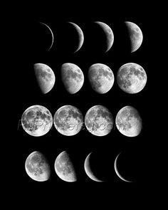 Moon Wall Art set of 2 moon phases print, astronomy art, wall art prints, space