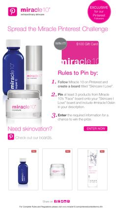 Complete the steps from our Miracle Pinterest Challenge and click on the image to enter and win $100 Miracle 10 skincare promotional gift card. #contest #giveaway #giftcard #miracle10