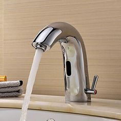 Single handle solid chrome finishing cold&hot water automatic sensor faucet   8909