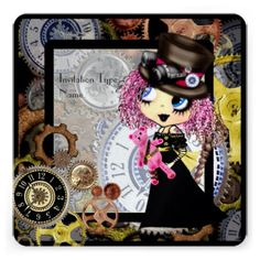 Goth Girl steampunk cosplay customizable invitations #steampunk #cosplay #pinkyp