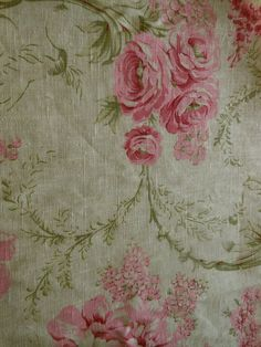 Vintage Pure Linen Shabby Roses Scrolls Fabric ~ pink green on pale yellow