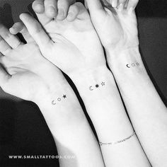 Jan 2020 - Matching Crescent Sun And Star Temporary Tattoo (Set of – Small Tattoos Three Sister Tattoos, Siblings Tattoo For 3, Sibling Tattoos, Couple Tattoos, Tattoos For Guys, Small Tattoos For Sisters, Cute Sister Tattoos, Small Matching Tattoos, Matching Best Friend Tattoos