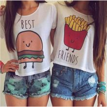 1PC Casual Crop Tops Women 2015 Summer Round Neck Best Friends Print T Shirts Fashion Short Sleeve Printed Shirt Female QL820(China (Mainland))