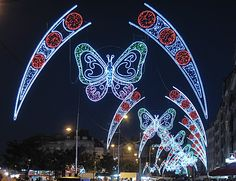 Street Lamp Christmas Decorations Made in China All Things Christmas, Christmas Lights, Christmas Trees, Green Colors, Light Colors, Light Decorations, Christmas Decorations, Baby Park, Big Butterfly