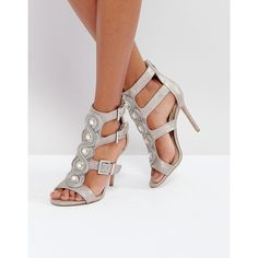 Forever Unique Cut Out Heeled Sandal with Gold Buckles ($98) ❤ liked on Polyvore featuring shoes, sandals, silver, peeptoe shoes, strappy sandals, metallic strappy sandals, peep-toe shoes and strappy high heel sandals