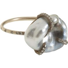 Monique Péan Tahitian Pearl Ring ($8,800) ❤ liked on Polyvore featuring jewelry, rings, accessories, women, 18 karat gold jewelry, monique péan, 18 karat gold ring, 18k jewelry and tahitian pearl jewelry