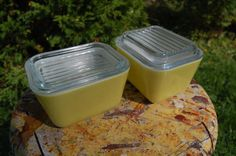 Lemon Yellow Pyrex Fridgies Containers with by blinkyoullmissit