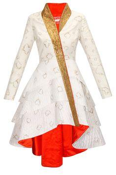 White burnt textured peplum style dress by Samant Chauhan. Shop now: http://www.perniaspopupshop.com/designers/samant-chauhan #peplum #samantchauhan #shopnow #perniaspopupshop