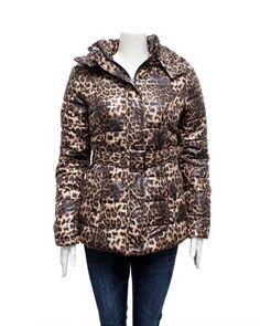 Brown Ladies Animal Print Puffer Jacket Removable Hood & Belt FineBrandShop. $56.50
