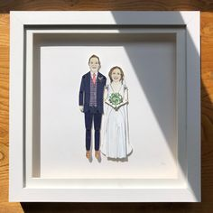 Here is a portrait of a wedding couple making its way to Birmingham. Pen And Watercolor, Watercolor Pencils, Deep Box Frames, Sharpie Pens, Portrait Illustration, Birmingham, Paper Dolls, My Drawings, Anniversary Gifts