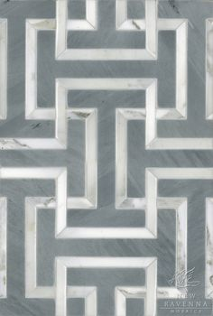 """Name: Windsor Style: Classic Product Number: CB0929WINDSOR (12""""x18"""") Description: Windsor , a water jet natural stone mosaic, in Calacatta Tia polished and Bardiglio honed."""