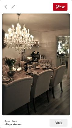 in love with this dinning room. I would add a pop of color though. But those are the dinning room chairs I want. Home Interior, Interior Design, Dinner Room, Dining Room Inspiration, Elegant Dining, Dining Room Table, Dining Rooms, Dining Chairs, Dining Set