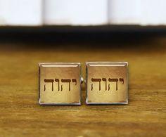 tetragrammaton cuff links custom tetragrammaton by ArtfireSupplies