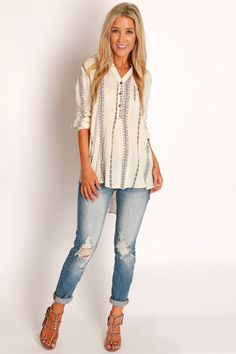 Twisted Hope Print Top Ivory