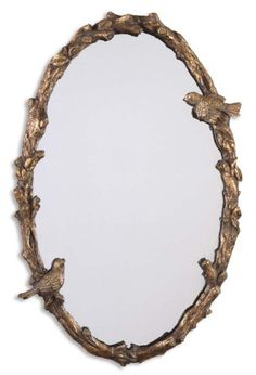 34 Antiqued Gold Leaf  Gray Birds and Vine Framed Oval Wall Mirror -- Read more reviews of the product by visiting the link on the image.