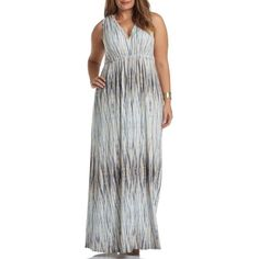 Plus Size Women's Tart Grecia Sleeveless Jersey Maxi Dress (595 BRL) ❤ liked on Polyvore featuring plus size women's fashion, plus size clothing, plus size dresses, plus size, water reflections, wrap maxi dress, plus size maxi dresses, sleeveless maxi dress, sleeveless wrap dress and womens plus size maxi dresses