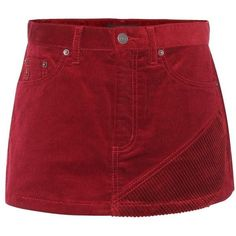 Marc Jacobs Corduroy Mini Skirt ($255) ❤ liked on Polyvore featuring skirts, mini skirts, red, short, red short skirt, short miniskirt, short skirt, marc jacobs and red mini skirt