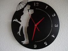 Wall clock couple lovers umbrella stainless steel Mural art watch design wall clock love