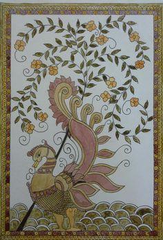 Kalam kari painting with natural color
