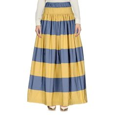 Dries Van Noten Long Skirt (27.210 RUB) ❤ liked on Polyvore featuring skirts, yellow, blue pleated skirt, pleated skirt, yellow skirt, yellow pleated maxi skirt and zipper skirt