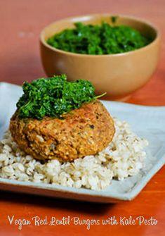 #MeatlessMonday with #Vegan Red Lentil Burgers with Kale Pesto http://www.miratelinc.com/blog/meatless-monday-with-vegan-red-lentil-burgers-with-kale-pesto/ #veganrecipes