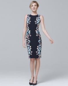 Reversible Floral Print Knit Sheath Dress