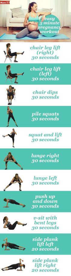 Zwanger en in beweging blijven! Deze rek- en strek oefeningen laten je bloed stromen en verstevigen je spieren! #zwanger #ik benzwanger #fitness 's ultimate #Pregnancy fitness guide! The perfect 5 minute #maternity workout! Grab a chair and you are set for a great #workout .