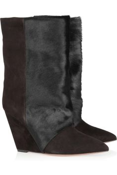 Isabel Marant | Lazio goat hair and suede wedge boots | fw2012