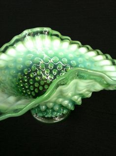 Fenton Hobnail Green Opalescent Bowl by GrandEstate on Etsy, $40.00