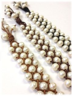 Freshwater Pearl and Leather Bracelet Orrawee C by AdiDesigns