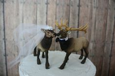 Hey, I found this really awesome Etsy listing at https://www.etsy.com/listing/156043798/elk-elk-hunter-wedding-cake-topper