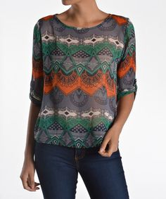 Take a look at this Green & Navy Sheer Art Deco Three-Quarter Sleeve Top on zulily today!