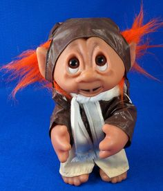 "Vintage 9"" Troll Doll Aviator Pilot Mustache Orange Hair Thomas Dam 1977 Denmark To see the Price and Detailed Description you can find this item in our Category Vintage Toys on eBay: http://stores.ebay.com/tincanalley1/Vintage-Toys-/_i.html?_fsub=19469217018  RD15473"