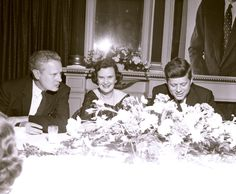1959. Senator Albert Gore, Sr., Mrs. Ben West, & Senator John F. Kennedy, at a Democratic party banquet at the Maxwell House Hotel in Nashville, TN