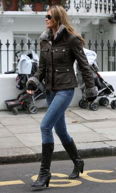 Elle Macpherson wearing Belstaff Jacket and Boots. Shop Belstaff here: http://www.lineafashion.com/store/womens-belstaff-12