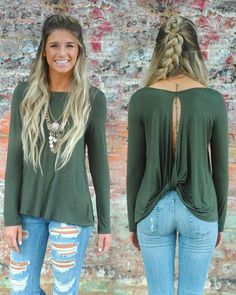 """Today's weather calls for sleeves!  Our """"Back Me Up Top"""" is only $24 and comes in 2 colors--Olive (shown) and Black. You don't want to miss this one! #vestique #fallfashion #instafashion #fallstyle #instabraid"""