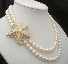 Pearl Bridal Necklace,Starfish Necklace,Bridal Starfish Necklace,Bridal Rhinestone Necklace,Swarovski Pearls,Beach Wedding,Pearl,ARIEL