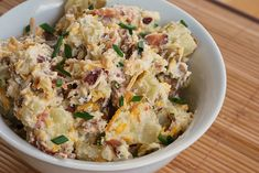 Baked Potato Salad - awesome! we used twice as many potatoes and twice as much cheese, but despite that, less bacon and the same amount of sour cream/mayo (low calorie) - it was awesome, a thousand compliments