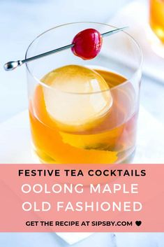 A classic tea-infused cocktail you'll have to try! Enhance your Old Fashioned . Drinks Alcohol Recipes, Tea Recipes, Drink Recipes, Oolong Tea Benefits, Tea Facts, Tea Cocktails, Best Cocktail Recipes, Fruit Tea, Ginger Tea