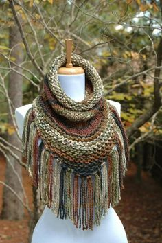 Chunky Scarf, Knit Triangle Scarf Cowl with Fringe in Woodland Green and Brown, Women's Scarf Cowl, Bandana Scarf, Fall Scarf, Winter Scarf
