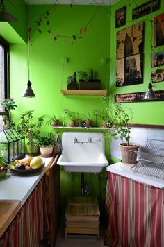 The kitchen is painted in Glidden's Duo Spring Green.