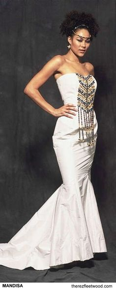 South african wedding dress with cowrie shells