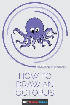 Octopus Drawing, Octopus Painting, Octopus Art, How To Draw Octopus, Easy Drawings, Art Drawings Sketches, Cartoon Drawings, Cartoon Art, Animal Drawings