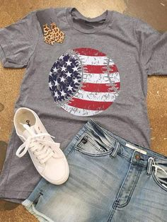 Crew neck and short sleeves American Flag, Image American, Coaches Wife, New Product, Short Sleeves, Unisex, Baseball, Female, Womens Fashion