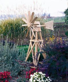 Amish Pine Outdoor Garden American Windmill