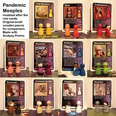 My homemade Pandemic meeples, modeled after the role cards Board Game Pieces, Board Game Geek, Board Game Design, Yard Games, Diy Games, Game Night, Geek Stuff, Crafty, Cards