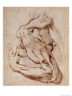 Anatomy Drawing Tutorial Giclee Print: Study of an Arm Art Print by Michelangelo Buonarroti : - Human Figure Drawing, Figure Drawing Reference, Guy Drawing, Life Drawing, Drawing Ideas, Anatomy Art, Anatomy Drawing, Michelangelo, Miguel Angel