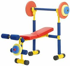 Redmon Fun And Fitness Exercise Equipment For Kids Weight Bench Set Best Exercise Bike, Exercise For Kids, Weight Bench Set, Kids Gym, Baby Workout, Thing 1, Strength Training Workouts, Bench Press, No Equipment Workout